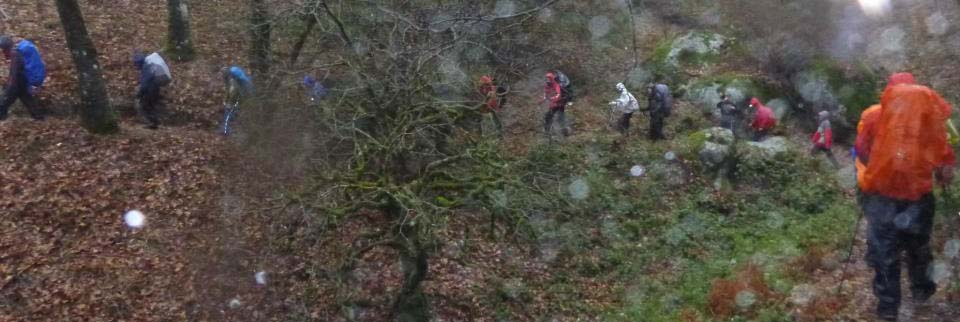 The troop hike on the rain.